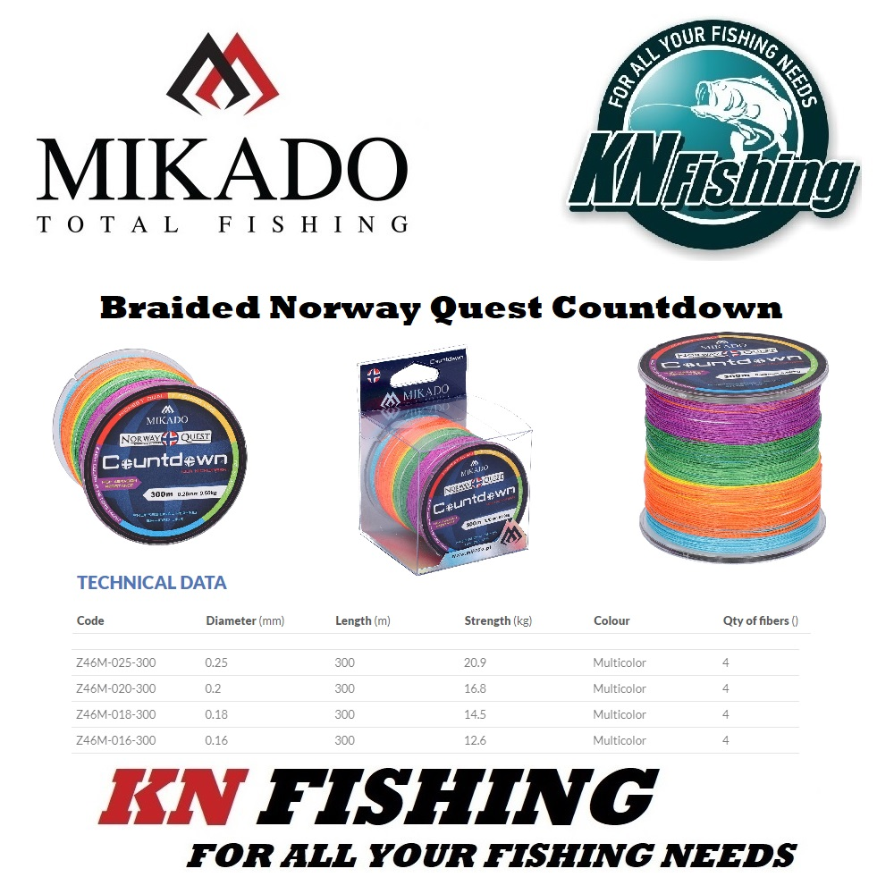 MIKADO NORWAY QUEST MULTICOLOR BRAIDED LINE 300m (0.16mm - 0.25mm)