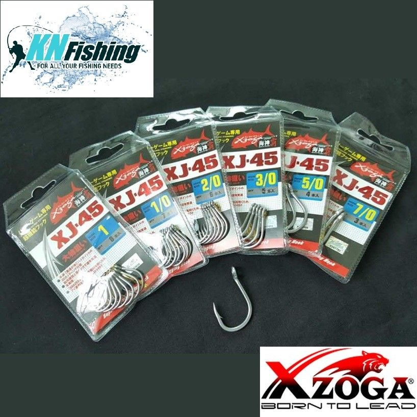 XZOGA XJ-45 3D BRAZED EYE POWER JAPANESE HOOKS SUPER STRONG 01 - 5/0