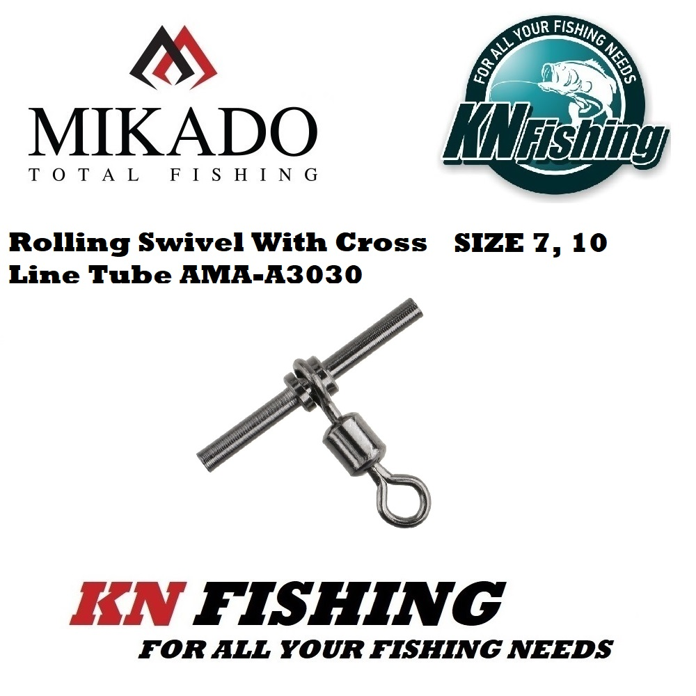 MIKADO ROLLING SWIVEL W/CROSS LINE TUBE BLACK NICKEL No 10 AND 7 - 5 pcs