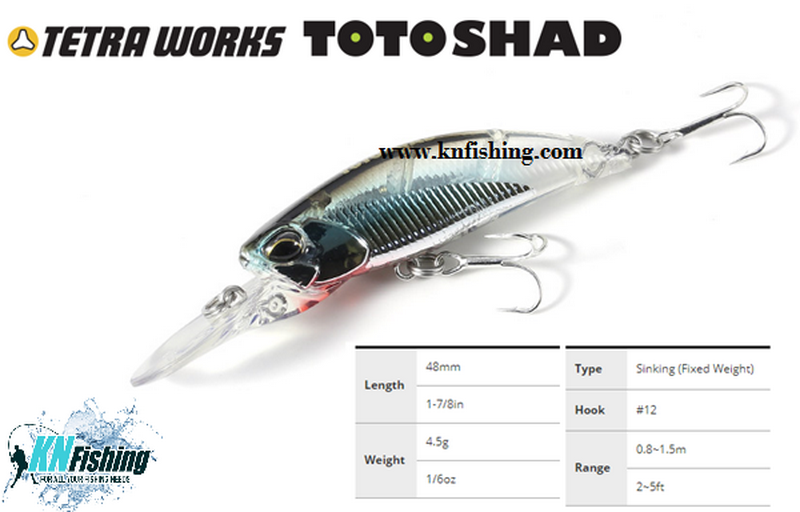 DUO TETRA WORKS TOTO SHAD 48S SINKING HARD FISHING LURES 48mm 4.5gr