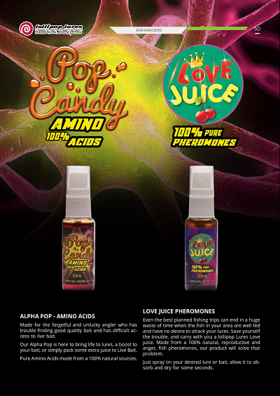LOLLIPOP LURES POP CANDY AND LOVE JUICE FISH ATTRACTANT AMINO ACIDS AND PHEROMONES