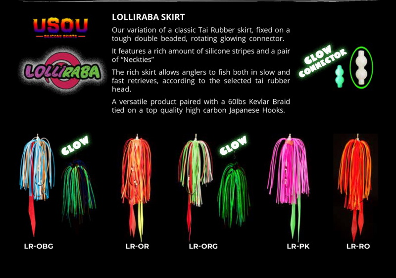 LOLLIPOP LURES LOLLIRABA TAI RUBBER SILICONE SKIRTS READY TO FISH